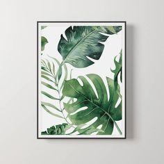 credit card printable Monstera Blatt M - Art Deco Artwork, Art Mural, Green Wall Art, Botanical Decor, Plant Painting, House Painting, Vintage Art Prints, Painted Leaves, Leaf Art