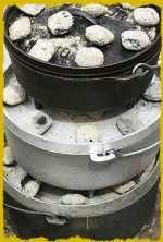 Dutch oven cooking tips...how many briquettes to use and how long to cook. #dutchovencooking