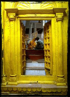 Yellow Temple Doors in India ~