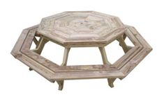 """Small Octagon    This table would make a stunning addition to your patio. It can seat 8 adults very comfortably plus a few kids as well. The table top measures 64"""" (1625mm) to the parallel sides. All of the angles on the table top and seats are 45 degrees while the angles of the legs are 60 degrees."""