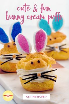 These delightful bunny cream puffs will make young and old smile. They taste great too! Cute Desserts, Holiday Desserts, Holiday Treats, Holiday Recipes, Easter Desserts, Easter Dinner, Easter Brunch, Easter Party, Easter Cake