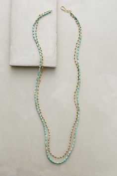 "Riverside Necklace - anthropologie.com By Robindira 22k gold vermeil, pyrite, turquoise Hook closure 40""L"