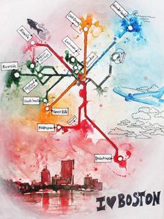 "I Love Boston - Boston Subway Map painting (The T) 11"" x 17"""
