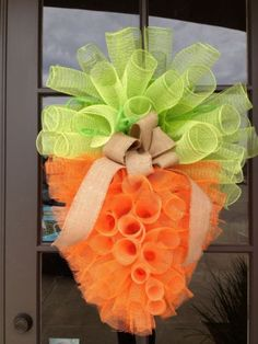 "34""x 25"" Spring Easter Spiral Mesh Carrot with Burlap Wreath 