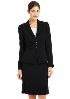 TAHARI ARTHUR S. LEVINE Crepe 5-Button Skirt Suit Navy