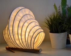 Paper Mache Mushroom Lamp Light Sculpture Handmade Lamp | Etsy Light In, Lamp Light, Light Table, A Table, Deco Luminaire, Sea Snail, Large Lamps, Fairy Lamp, Handmade Lamps