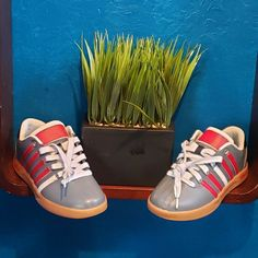 finest selection 33108 18ac9 youth shoes k-swiss sz3 new custom colorway grey red wht witj gum bottom  soles