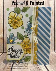 by Cindee: Penned & Painted, Tin of Cards, Festive Birthday dsp, Subtles dsp stack, Best Badge Punch - all from Stampin' Up!