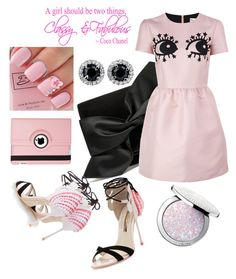"""""""pink dress..."""" by grinevagh ❤ liked on Polyvore featuring Victoria Beckham, RED Valentino, Sophia Webster, Guerlain and Natico"""