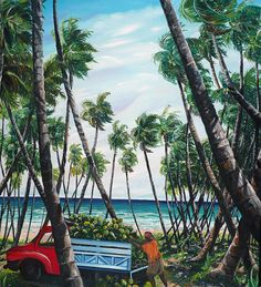 Picking Coconuts .. Mayaro Painting by Karin  Dawn Kelshall- Best