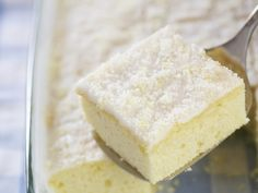 A sweet-tart lemon sheet cake holds a lot of promise as a light summer dessert-but sheet cakes are hard to bake evenly, and we wanted bright, not sour, lemon flavor. In our recipe, tangy buttermilk reinforces the lemon flavor in both the cake and glaze. Food Cakes, Cupcake Cakes, Cupcakes, White Sheet Cakes, Light Summer Desserts, Bolos Low Carb, Sheet Cake Recipes, Sweet Bakery, Sweet Tarts