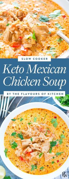 Slow-Cooker Mexican Chicken Soup Indulgent Keto Crockpot or Slowcooker Recipes 12 Guilt Free Low Carb Crockpot Ideas Crock Pot Recipes, Keto Crockpot Recipes, Ketogenic Recipes, Diet Recipes, Healthy Recipes, Ketogenic Diet, Lunch Recipes, Vegetarian Recipes, Crockpot Ideas