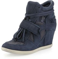 Ash Bowie Mesh-Panel Wedge Sneaker, Navy on shopstyle.com
