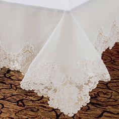 Violet Linen Imperial Embroidered Vintage Lace Design Tablecloth