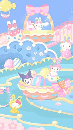 Sanrio Wallpaper, Cute Pastel Wallpaper, Soft Wallpaper, Cute Wallpaper For Phone, Hello Kitty Wallpaper, Bear Wallpaper, Kawaii Wallpaper, Iphone Wallpaper, Sanrio Characters