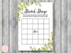 Wedding Shower Bingo Cards Bridal Bingo Gift Item by BrideandBows