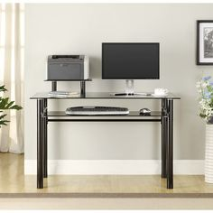 Home Office Computer Laptop Tempered Glass Desk Workstation Metal Frame Black Glass Computer Desks, Furniture, Home Office Furniture, Home, Office Furniture Desk, Glass Desk, Contemporary Computer Desk, Desk Furniture, Desk