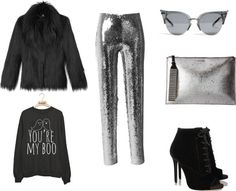 Black and silver sequins outfit