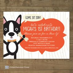 Boston Terrier Dog Themed Childs Birthday by SweetHammerPress