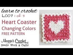 Apparently great minds do run in the same channel. I love this woman! Part 1 of 3 Learn Crochet - CHANGING COLORS Intarsia - FREE Heart Coaster by Maggie Weldon. Crochet Basics, Crochet Stitches, Crochet Patterns, Crochet Gratis, Free Crochet, Left Handed Crochet, Crochet Instructions, Tapestry Crochet, Crochet Videos