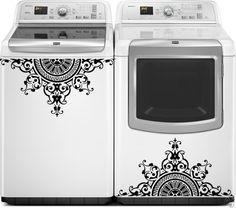 Washer Dryer Vinyl Decals, Appliance Decals, Greek Medallion Vinyl Decal for Washer Dryer, Top Loading Washer Decals, Laundry Decals by thewordnerdstudio on Etsy