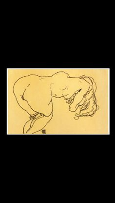 """Egon Schiele - """" Long haired nude, bent over forward, jerk view """", 1918 - Charcoal - 29 x 45,8 cm."""