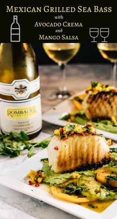 Mexican Grilled Sea Bass - Grilled sea bass in a puddle of avocado crema topped with fresh mango salsa... Mexican Grilled Sea Bass, with its bold Mexican-inspired flavors, is elegant enough for a special occasion, but simple enough for any day of the week! Chilean sea bass   fish recipes   healthy Mexican recipes   avocadoes