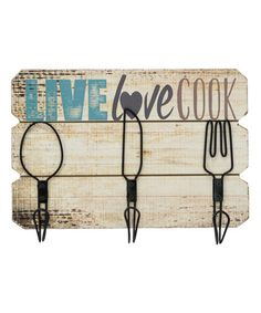 Another great find on #zulily! 'Live Love Cook' Wall Hooks #zulilyfinds