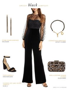 A dressy black jumpsuit will take you to any sort of special event. A chic black jumpsuit is a perfect thing to wear to parties, weddings, and upcoming holiday events! Black Dress Outfits, Dressy Outfits, Club Outfits, Bar Outfits, Vegas Outfits, Dinner Outfits, Night Outfits, Dinner Dresses, Cocktail Dresses