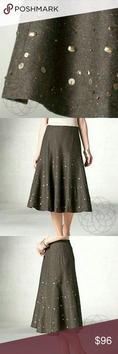 """Coldwater Creek Brown Tweed Twill Studded Skirt 🎉HP🎉 Darling Brown Tweed Twill Skirt with studs and sequin. A truly beautiful & unique skirt! ▪ Fitted waist front, elastic band back with zipper closure  ▪ Fully lined  ▪ Fabric: 74% Polyester, 20% Wool, 6% Other Fibers, Lining 100% Polyester  ▪ Care: Dry Clean Only  ▪ Natural Waist: 29""""-32"""" inches, Hips: tappered 36""""-40"""" inches, Length: 27"""" inches  ⚠ All measurements are approximate  💥 Brand New with Tag & never worn   ✋ All Sales Final…"""