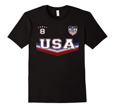Mens Double Sided USA Soccer Tshirt with No. 8 - sports apparel 2XL Black