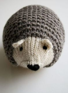 Free knitting pattern for hedgehog softie toy and more wild animal knitting patterns