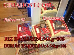 SEMOULE OR SEMOULINA FLOUR AT 10 DOLLARS A BAG, BASMATI RICE AT 10 DOLLARS A BAG AT CIMAHOST.COM