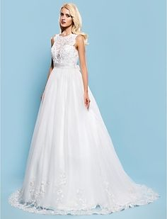 Wedding Dress Ball Gown Court Train Tulle Bateau Bridal Gown With Removable Sash - USD $ 159.99
