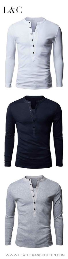 LS Deep Button Henley available NOW on www.Leatherandcotton.com