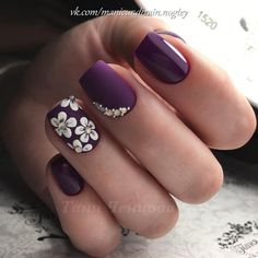 Fall nails 2017, flower nail art, Ideas of violet nails, Matte nails, Nails for September 1, Nails with rhinestones ideas, September nails, Short nails 2017