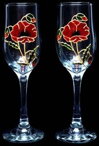 Celtic Glass Designs Set of 2 Hand Painted Champagne Flutes in a Poppy Design. Champagne Glasses, Glass Design, Table Linens, Poppy, Celtic, Wine Glass, Clip Art, Hand Painted, Tablecloths