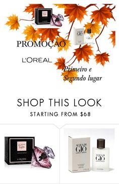 promoção by sirlenebeje on Polyvore featuring beleza, Lancôme and Giorgio Armani