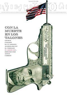 EL AMERICANO (The American) dirigida por Anton Corbijn. Ilustración de Raúl Arias.