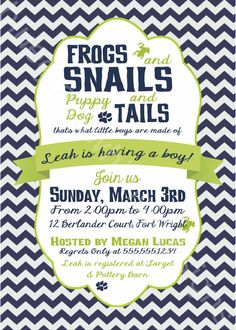 Frogs, Snails & Puppy Dog Tails Little Boy Baby Shower Invitation by BluegrassWhimsy, $15.00