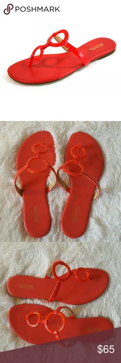 New Michael Michael Kors Claudia flat sandals Brand new MK Claudia flat sandals with original box, round open toe slide on T strap thong sandals with ring hardware, rubber sole, color: Coral Reef. No trades. MICHAEL Michael Kors Shoes Sandals