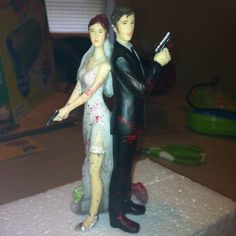 Hand painted Zombie Apocalyse Wedding Cake Topper