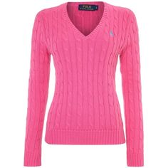 Polo Ralph Lauren Long sleeved v neck knitted jumper ($74) ❤ liked on Polyvore featuring tops, sweaters, shirts, pink, blusas, sale, v neck long sleeve shirt, v neck sweater, cotton shirts and pink shirts