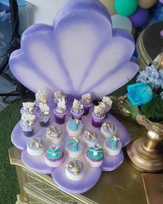 Love the foam seashell as a dessert display Mermaid Theme Birthday, Little Mermaid Birthday, Little Mermaid Parties, 1st Birthday Parties, Birthday Party Decorations, Party Themes, Party Ideas, Rosalie, Mermaid Baby Showers