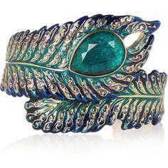 Isharya 18-karat gold crystal-embellished feather cuff ($71) ❤ liked on Polyvore
