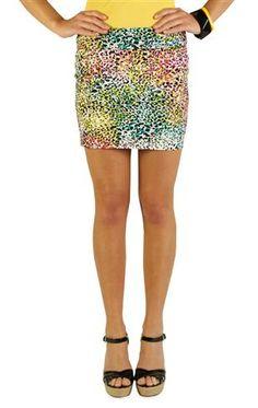 multicolor cheetah print bodycon skirt