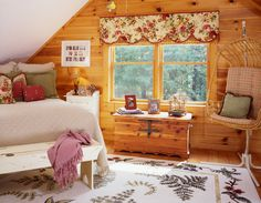 Log Home Bedroom, Bedroom Decor, Bedroom Ideas, Log Home Decorating, Beautiful Bedrooms, Log Homes, My Dream Home, Valance Curtains, Interior And Exterior