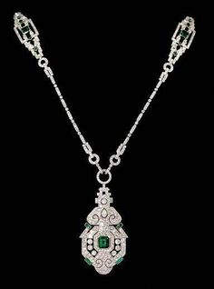 Platinum Diamond & Emerald Necklace