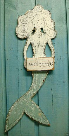 Welcome Mermaid Weathered Wood Beach House Sign by CastawaysHall, $49.00