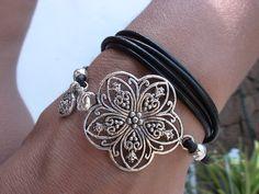 multi wrap black leather bracelet with silver plated by kekugi, $26.00